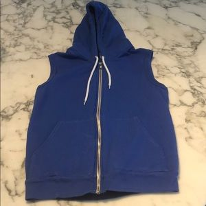 American Apparel Sleeveless Blue Hoodie